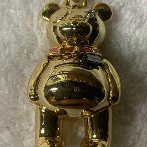Gold-Tone Teddy Bear Purse Charm Key Chain Ring.